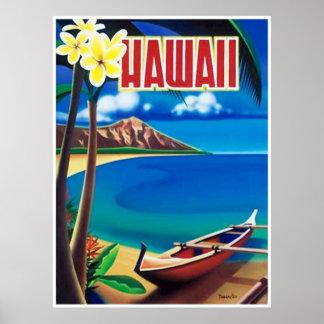 Arte del vintage del poster del viaje de Hawaii