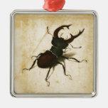Arte del vintage del renacimiento del escarabajo adorno navideño cuadrado de metal