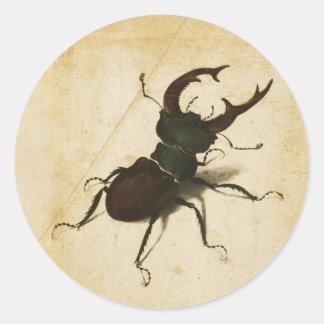 Arte del vintage del renacimiento del escarabajo pegatina redonda