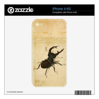 Arte del vintage del renacimiento del escarabajo skins para eliPhone 4S