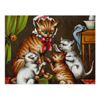 Arte del vintage: Gato de la mama con los gatitos Tarjeta Postal