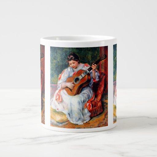 Arte del vintage, mujer que toca la guitarra por taza grande