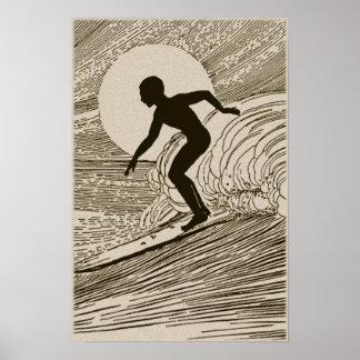 Arte del vintage - poster que practica surf