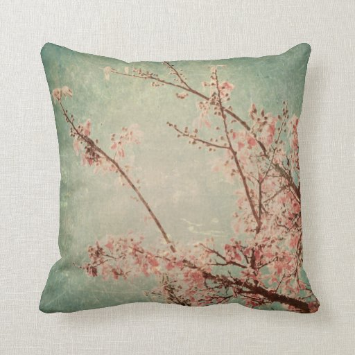 Arte del vintage que pinta el melocotón verde retr almohada