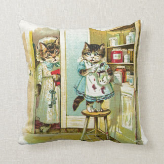 Arte del vintage: Robo cogido gatito Almohada