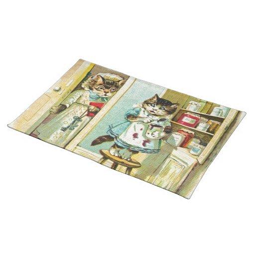 Arte del vintage: Robo cogido gatito Manteles Individuales