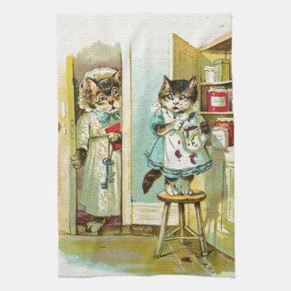 Arte del vintage: Robo cogido gatito Toalla De Mano
