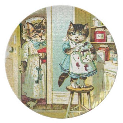 Arte del vintage: Robo cogido gatito Platos De Comidas