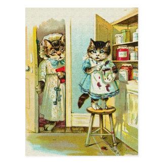 Arte del vintage: Robo cogido gatito Tarjetas Postales