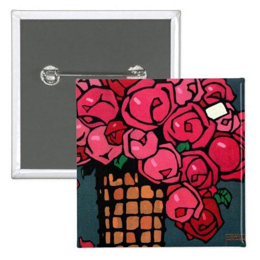Arte del vintage: Rosas - Luis Hohlwein Pin Cuadrada 5 Cm