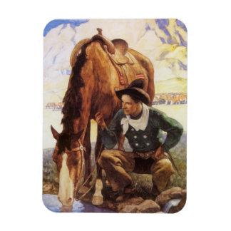 Arte del vintage, vaquero que riega su caballo por imán rectangular
