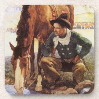 Arte del vintage, vaquero que riega su caballo por posavaso