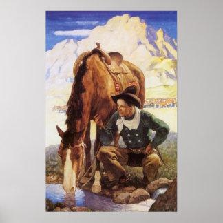 Arte del vintage, vaquero que riega su caballo por póster