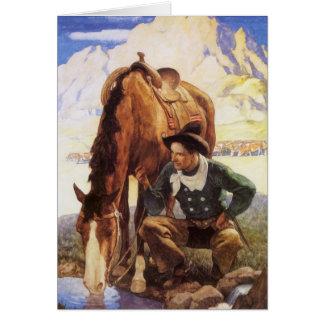 Arte del vintage, vaquero que riega su caballo por tarjeta de felicitación