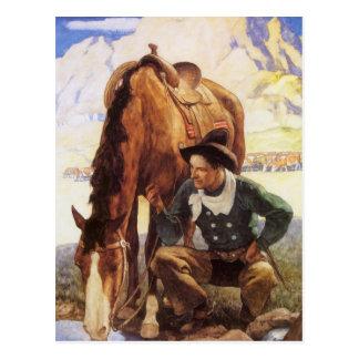 Arte del vintage, vaquero que riega su caballo por tarjetas postales
