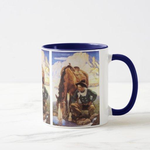 Arte del vintage, vaquero que riega su caballo por taza