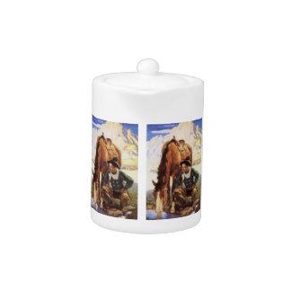 Arte del vintage, vaquero que riega su caballo por