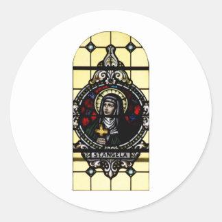 Arte del vitral de Angela Merici del santo Pegatina Redonda