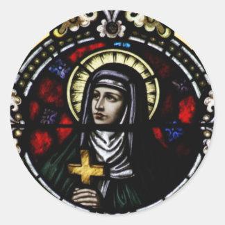 Arte del vitral de Angela Merici del santo Pegatinas Redondas