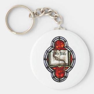Arte del vitral de la Sagrada Biblia y del rosario Llavero Personalizado