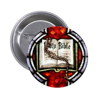 Arte del vitral de la Sagrada Biblia y del rosario Pins
