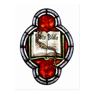 Arte del vitral de la Sagrada Biblia y del rosario Tarjetas Postales