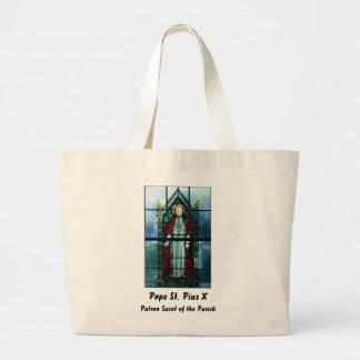 Arte del vitral de papa Saint Pío X Bolsas De Mano