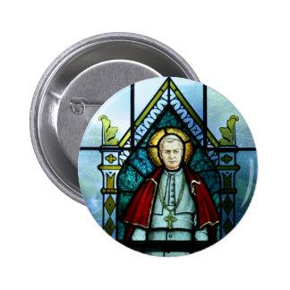 Arte del vitral de papa Saint Pío X Pin Redondo De 2 Pulgadas