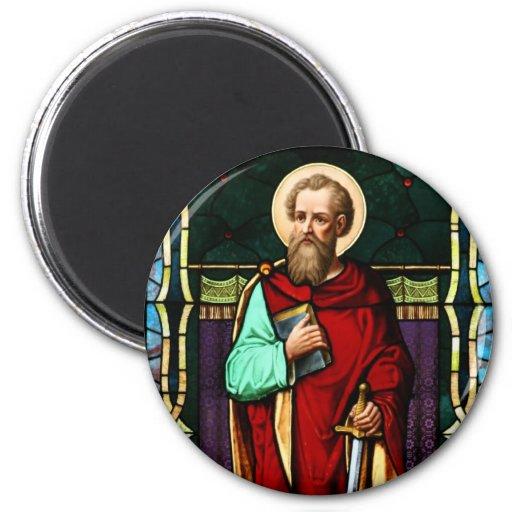 Arte del vitral de Saint Paul (Paul el apóstol) Imán Redondo 5 Cm