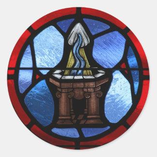 Arte del vitral del bautismo pegatina redonda
