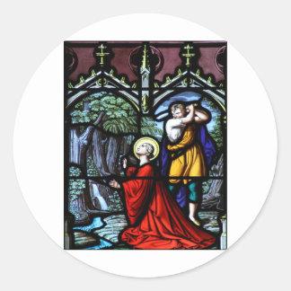 Arte del vitral del martirio de Barbara del santo Etiquetas Redondas