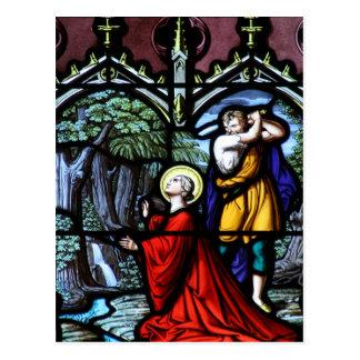 Arte del vitral del martirio de Barbara del santo Tarjeta Postal