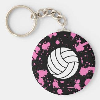 Arte del voleibol de los chicas llavero redondo tipo pin