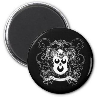 Arte del vudú blanco y negro imán redondo 5 cm