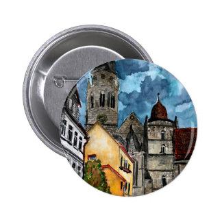 arte del watercolour del castillo y de la iglesia  pin