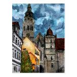 arte del watercolour del castillo y de la iglesia  tarjetas postales