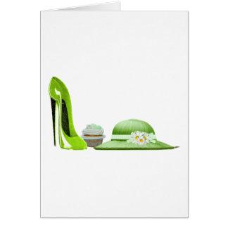 Arte del zapato, de la magdalena y del gorra del tarjeta de felicitación