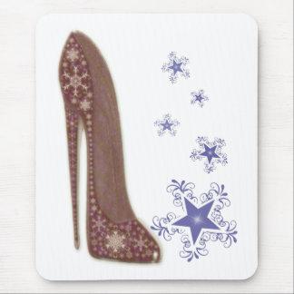 Arte del zapato del estilete del navidad y copos tapete de ratones