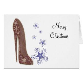 Arte del zapato del estilete del navidad y copos tarjeta de felicitación