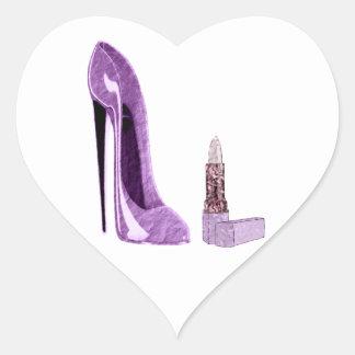 Arte del zapato y del lápiz labial del estilete de pegatina en forma de corazón