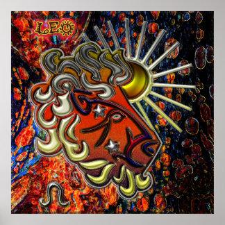 Arte del zodiaco de Leo Poster