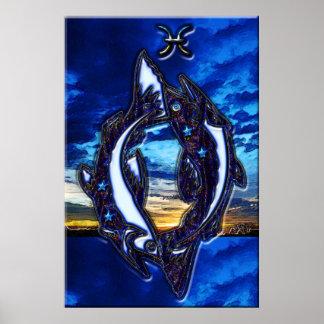Arte del zodiaco de Piscis Poster