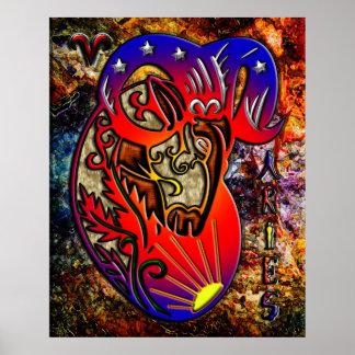Arte del zodiaco del aries impresiones