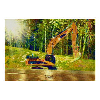 Arte delantero de la pala del cavador w del excava póster