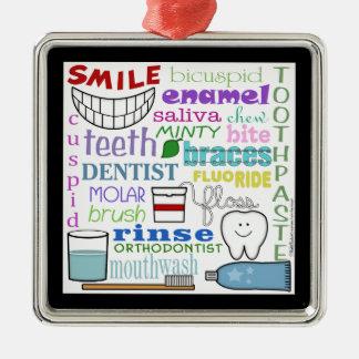 Arte dental del subterráneo de los términos adorno navideño cuadrado de metal