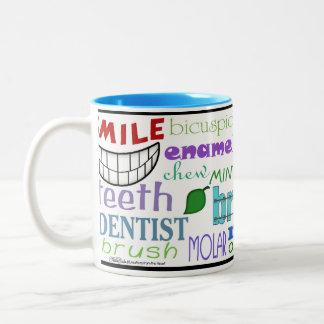 Arte dental del subterráneo de los términos taza de café de dos colores