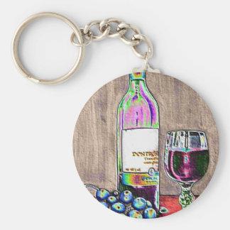 Arte digital aún de la vida moderna del vino y de  llavero redondo tipo pin