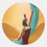 Arte digital de la diosa pagana egipcia de la pegatina redonda