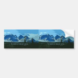 Arte digital de los picos de montaña - cita de pegatina para coche