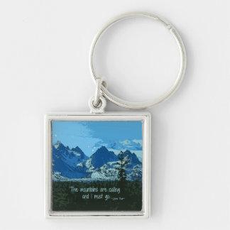 Arte digital de los picos de montaña - cita de llavero cuadrado plateado